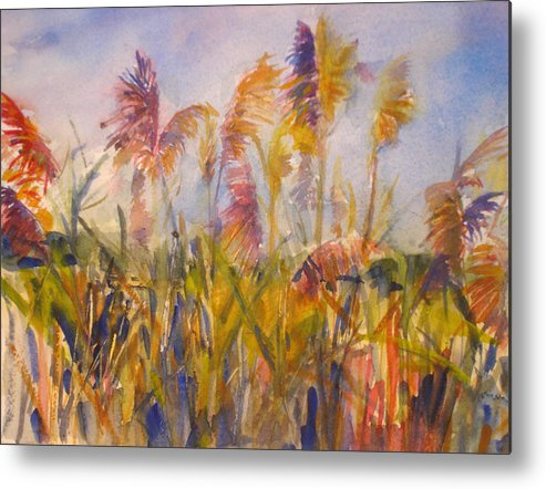 Landscape Metal Print featuring the painting Long Island Marsh by Joyce Kanyuk