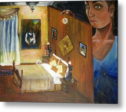 Oil Metal Print featuring the painting Looking Back by Jessica De la Torre