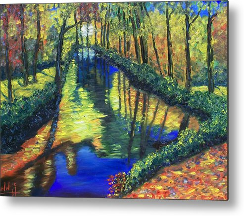 Water Metal Print featuring the painting Magical Creek by Charles Vaughn