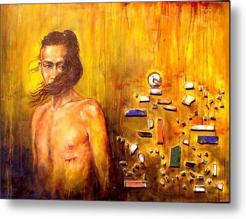 Meditation Metal Print featuring the painting Meditation 2 by Ixchel Amor