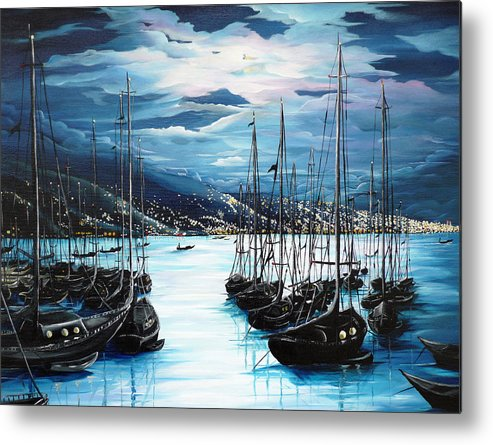 Ocean Painting  Caribbean Seascape Painting Moonlight Painting Yachts Painting Marina Moonlight Port Of Spain Trinidad And Tobago Painting Greeting Card Painting Metal Print featuring the painting Moonlight Over Port Of Spain by Karin Dawn Kelshall- Best
