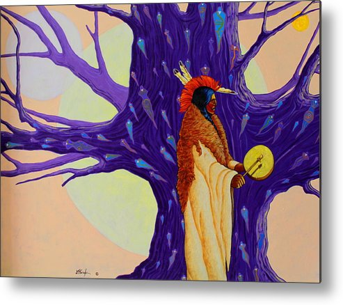 Mystic Metal Print featuring the painting Mystic Powers of The Medicine Man by Joe Triano