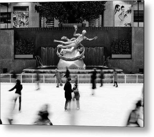 Ny Metal Print featuring the photograph NYC Rockefellar Iceskating by Nina Papiorek