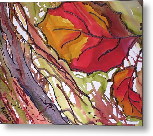 Leaf Metal Print featuring the mixed media OctoberSecond by Susan Kubes
