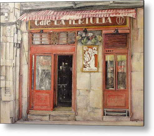 Cafe Metal Print featuring the painting Old Cafe- Santander Spain by Tomas Castano