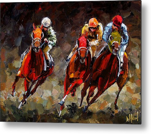Horse Race Metal Print featuring the painting Opening Day by Debra Hurd