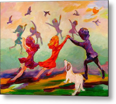 Children Metal Print featuring the painting Our Dancing Children by Naomi Gerrard