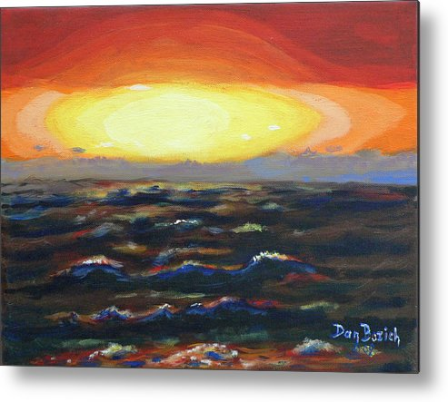 Setting Sun Metal Print featuring the painting Pacific Sunset by Dan Bozich