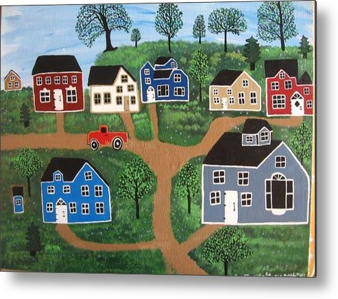 Folk Art Metal Print featuring the painting Passing Through Latavnia Willow by Mike Filippello