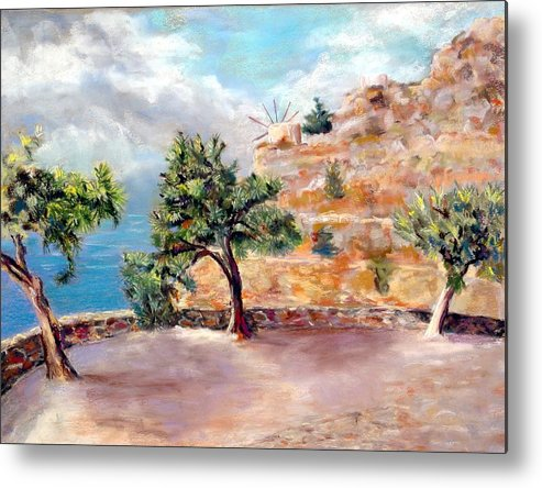 Mediteranean Metal Print featuring the painting Path to Vlichos by David Horning