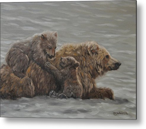 Bella Coola Grizzly Metal Print featuring the painting Patience by Tahirih Goffic