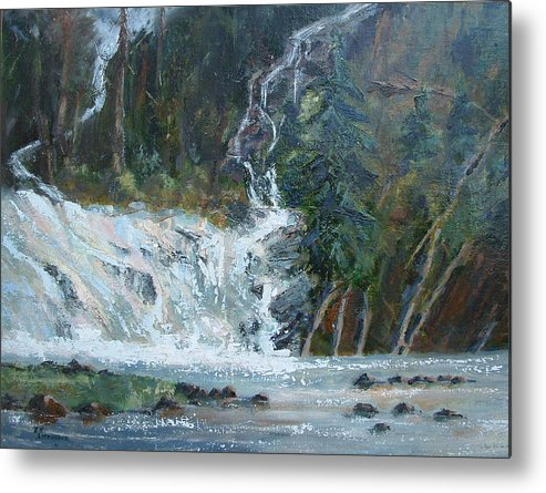 Landscape Metal Print featuring the painting Pelican Falls by Bryan Alexander