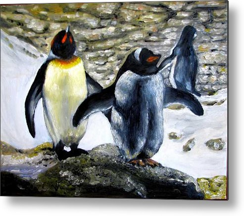 Oil On Canvas Metal Print featuring the painting Penguines original oil painting by Natalja Picugina
