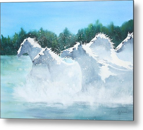 Horse Metal Print featuring the painting Splash 2 by Ally Benbrook