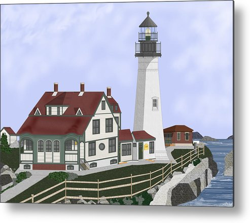 Portland Head Lighthouse Metal Print featuring the painting Portland Head Maine on Cape Elizabeth by Anne Norskog