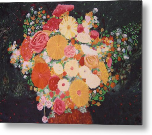 Metal Print featuring the painting Pot with flowers by Biagio Civale