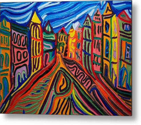 Metal Print featuring the painting Prague at Noon by Ira Stark