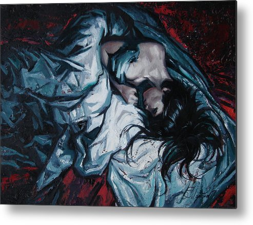 Oil Metal Print featuring the painting Presentiment of insomnia by Sergey Ignatenko