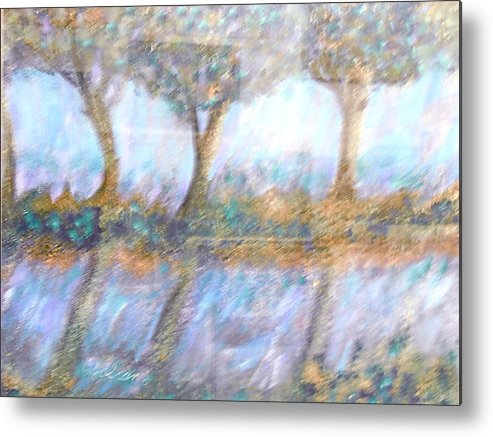 Abstract Metal Print featuring the painting Reflections by BJ Abrams
