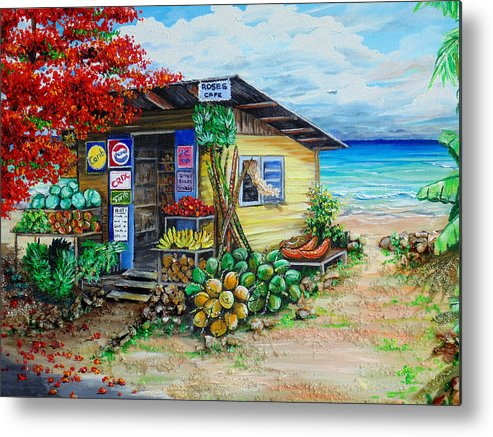 Beach Cafe Metal Print featuring the painting Rosies Beach Cafe by Karin Dawn Kelshall- Best