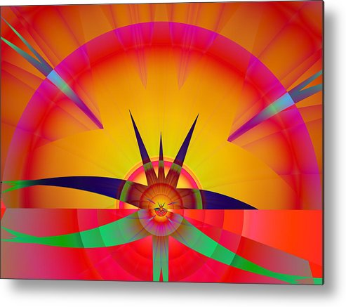 Fractal Metal Print featuring the digital art Round burst by Frederic Durville