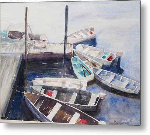 Boats Metal Print featuring the painting Rowboats by M Jan Wurst