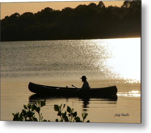Water Metal Print featuring the photograph Rowing On The Lake by Judy Waller