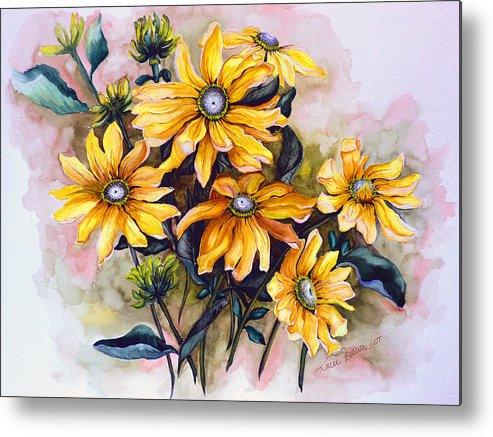 Flower Painting Sun Flower Painting Flower Botanical Painting  Original Watercolor Painting Rudebeckia Painting Floral Painting Yellow Painting Greeting Card Painting Metal Print featuring the painting RUDBECKIA Prairie Sun by Karin Dawn Kelshall- Best