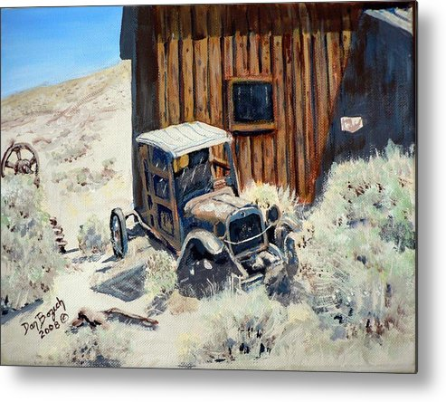 Old Dodge Bros. Truck; Berlin Metal Print featuring the painting Rust in Peace by Dan Bozich