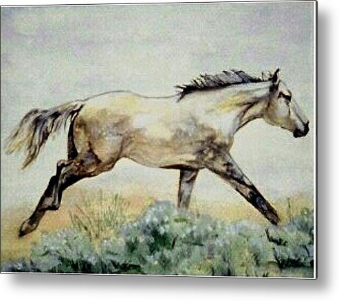 Quarter Horse Metal Print featuring the painting Sage Runner by Debra Sandstrom