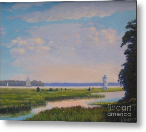 Landscape Metal Print featuring the painting Sailing On A Vineyard Afternoon by Laura Roberts