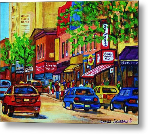 Cityscape Metal Print featuring the painting Saint Lawrence Street by Carole Spandau