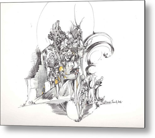 Forms Metal Print featuring the drawing Sculpted Forms by Padamvir Singh