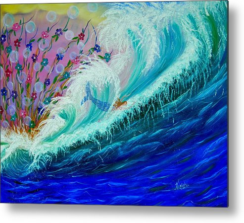 Ocean Metal Print featuring the painting Sea Fantasy by Kathern Welsh