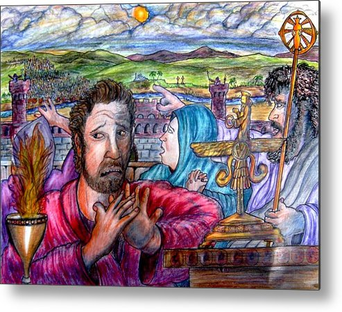 Israel Metal Print featuring the drawing See you in Babylon by Richard Hubal