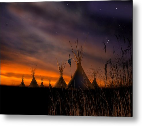 Native American Metal Print featuring the painting Silent Teepees by Paul Sachtleben