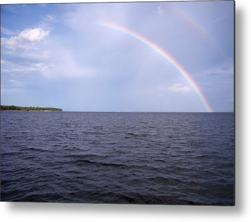 Rainbow Metal Print featuring the pyrography Somewhere over . . . by Nicole I Hamilton