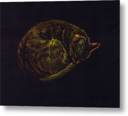 A Cat Soundly Asleep-oil Pastel Metal Print featuring the painting Sound Asleep II by Mui-Joo Wee