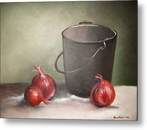 Bucket Metal Print featuring the painting Still life onions by Nellie Visser
