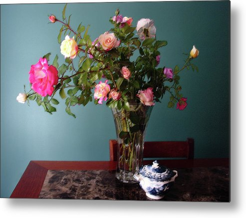 Roses Metal Print featuring the mixed media Still Life With Roses by Steve Karol