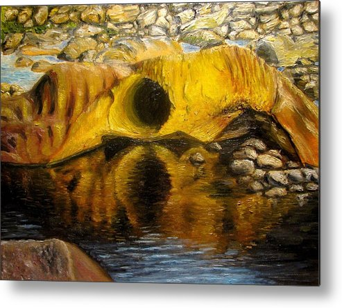 Landscape Metal Print featuring the painting Stones Ocoee river in Tennessee landscape original oil paintings by Natalja Picugina
