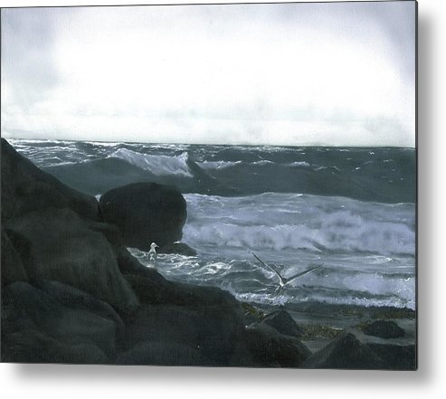 Stormy Flight Metal Print featuring the painting Stormy Flight by Charles Parks
