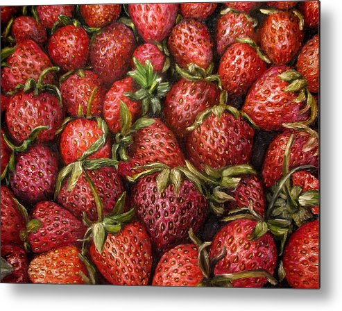Garden Metal Print featuring the painting Strawberries -2 contemporary oil painting by Natalja Picugina