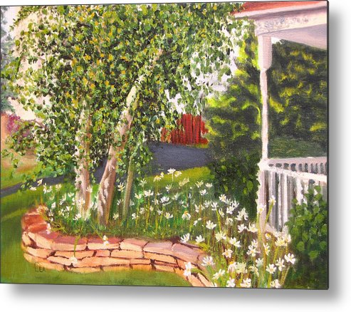 Daisies Metal Print featuring the painting Summer Garden by Lea Novak
