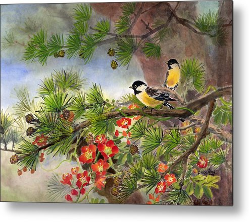 Chinese Trumpet Vine Metal Print featuring the painting Summer Vine With Pine Tree by Eileen Fong