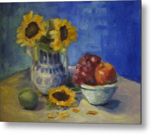 Still Life Metal Print featuring the painting Sunflowers and Fruit by Sharon Franke