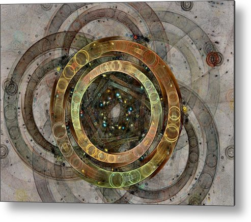 Circles Metal Print featuring the digital art The Almagest - Homage To Ptolemy - Fractal Art by Nirvana Blues