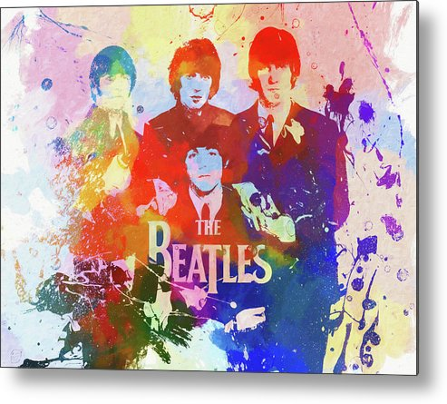 The Beatles Watercolor Metal Print featuring the painting The Beatles Paint Splatter by Dan Sproul