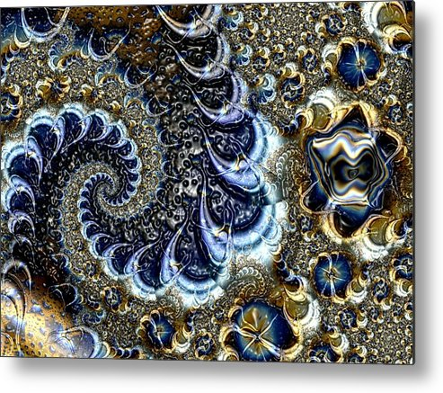 Fractal Diamonds Blue Jewel Dance River Metal Print featuring the digital art The blue diamonds by Veronica Jackson