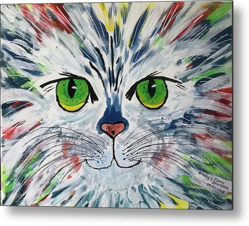 Cat Metal Print featuring the painting The Cat Got In My Paint by Kathy Marrs Chandler